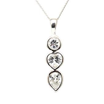 Toc Sterling Silver Triology Pendant with Cz's on 18 Inch Chain