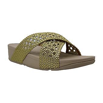 FitFlop FemmeS Lulu Wicker Peep Toe Casual Slide Sandals