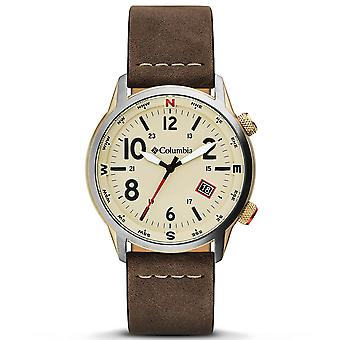 Columbia Outbacker Quartz Beige Dial Brown Leather Strap Men's Watch CSC01-002