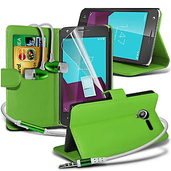 i-Tronixs Vodafone Smart mini 7 PU Leather Wallet Flip Case + Earphones -Green