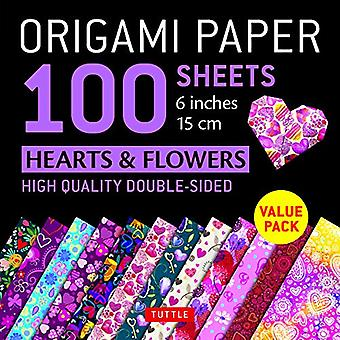 """Origami Paper 100 sheets Hearts & Flowers 6"""" (15 cm) - Tuttle"""
