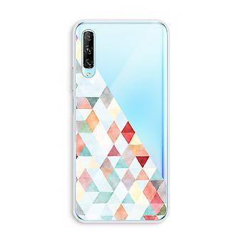 Huawei P Smart Pro Transparent Case (Soft) - Coloured triangles pastel