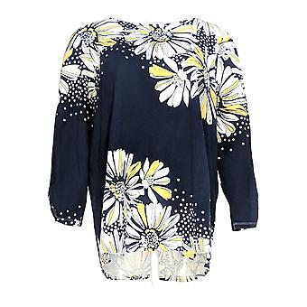 Alfred Dunner Women's Top Placement Floral Print Navy Blue