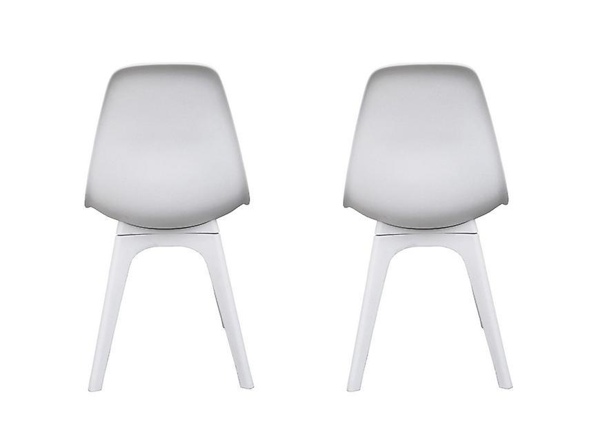 Chaise couleur blanche Carina en polypropylène, jambes bois 53x46x82.5 cm
