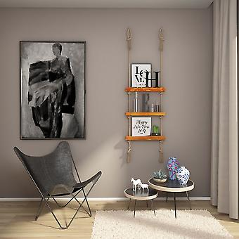 Estante de color de madera de Fayola, Ecru de madera, yute, L50xP9xA125 cm
