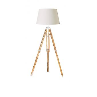 Tripod Floor Lamp, Teak And Polished Nickel, Without Lampshade