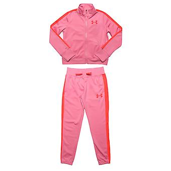 Girl's Under Armour Junior UA Knit Tracksuit in Pink