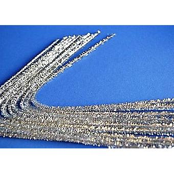 10 Silver 8mm Tinsel Extra Long 50cm Pipe Cleaners | Glitter Pipecleaners