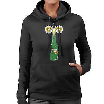 7UP 70's Flower Bottle Kvinnor's Hooded Sweatshirt