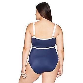 العلامة التجارية - الساحلية الأزرق المرأة & ق زائد حجم سحاب جبهة قطعة واحدة ملابس السباحة ...