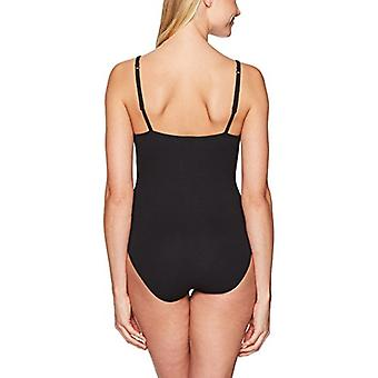 Brand - Mae Women's Ribbed Scoop-Neck Bodysuit, Black, Large
