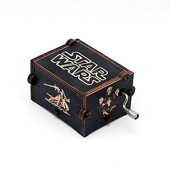 Star Wars Hand Crank Vintage Engraved Wooden Music Box - Wedding Valentine Christmas Birthday Musical Gift