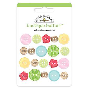 Doodlebug Design tervetuloa kotiin boutique painikkeet (6 kpl) (2469)