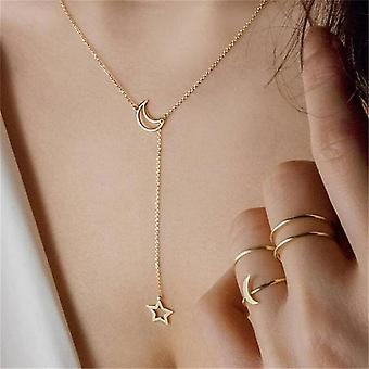Gold Interlock Crescent Moon Necklace