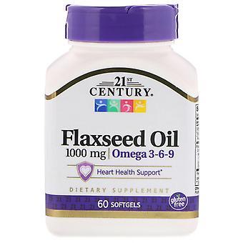 21ème siècle, Huile de lin, 1000 mg, 60 Softgels
