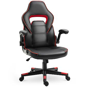 Vinsetto PU Leather Racing Style Gaming Office Chair Ergonomic Adjustable Height Arms 360° Swivel Rolling Black Red