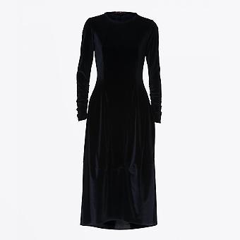 HIGH  - At Length - Stretch Velvet Balloon Dress - Navy
