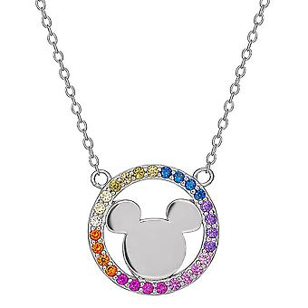 Mickey Mouse Sterling Silver Rainbow Stone Pendant Necklace