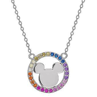 Mickey Mouse Sterling Sølv Rainbow Stone Vedhæng halskæde
