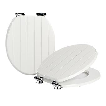 Soft Close Toilet Seat - Wooden with Chrome Hinges - Grooved White - Pack of 2
