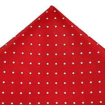 Kravaty Planet Červená a bílá Polka Dot Hedvábná kapesní kapesník