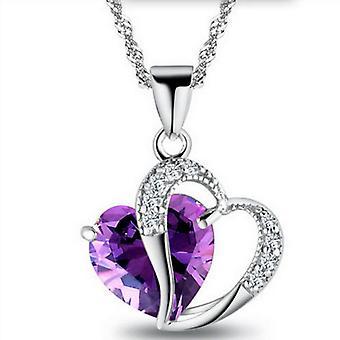 Peach Heart Crystal Clavicle Chain