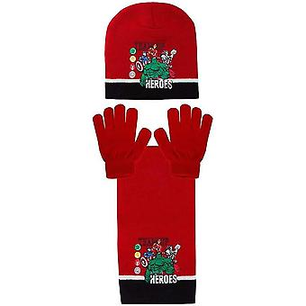 Avengers team boys hat scarf and gloves set