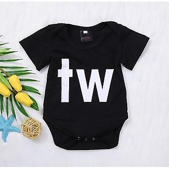 Baby Pojkar / Flickor Kläder, Kortärmad bokstav Tryckt