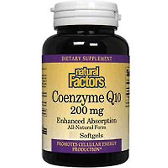 Luonnolliset tekijät Coenzyme Q10, 200 mg, 60 Softgels