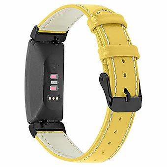 Pour Fitbit Inspire / 2 / HR / Ace 2 Genuine Leather Band Replacement Wristband Strap[Jaune]
