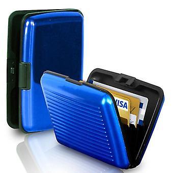 Porte-carte de visite babz aluminium pour garder les cartes en toute sécurité en bleu