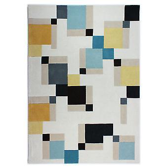 Illusion Abstract Blocks Rug - Rectangular - Blue/ochre