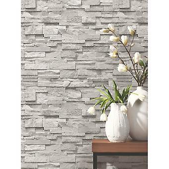 4 pcs. rolls of wallpaper Grey 0.53×10 m brick