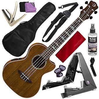 Luna ukulele concert koa high tide with preamp and uke quick-change capo deluxe bundle