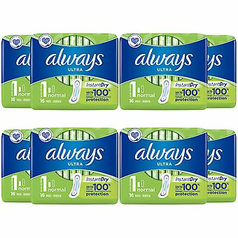 Always Ultra Normal No Wings,8 Pack of 16 Pads