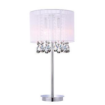 Lámpara de mesa blanco 3 luz con sombra de tela blanca, E14