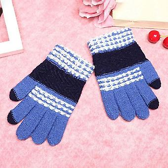 Children Sknitting Winter Warm Gloves Stylish Stripe Gloves