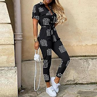 Women Casual Solid Color Jumpsuit, V Neck Button Shirt Overalls Short Sleeve