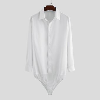 Fashion Men Dress Shirt Bodysuit, Long Sleeve, Button Lapel, Party Shirts