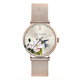 Ted Baker Watches Silver Floral Dial Rose Gold Band Ladies Watch BKPPFF901