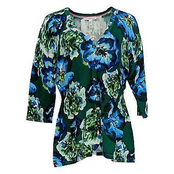 Isaac Mizrahi Live! Women's Sweater Floral Printed Peplum Green A310164
