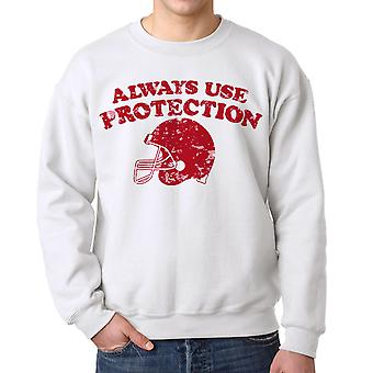 Humor Protection Men's White Sweatshirt