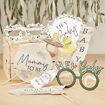 Baby-Dusche Foto Booth Requisiten - Botanische Baby x 10