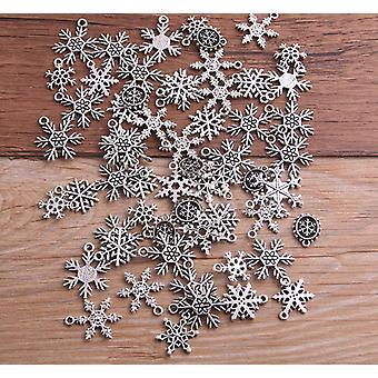 Mixed Christmas Snowflake Charms Pendants For Jewelrys Making, Diy Handmade