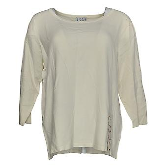Joan Rivers Women's Sweater Scoop Neck With Lace Up Detail Ivory A309778