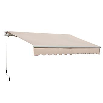 Outsunny 3.5x2.5m Manual Awning Window Door Sun Weather Shade w/ Handle Thick Retractable Canopy Outdoor Garden Shield Beige