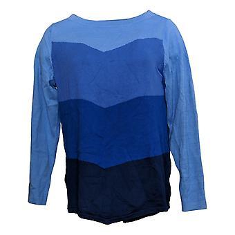 Bob Mackie Femmes & s Sweater Chevron Intarsia Blue A344693