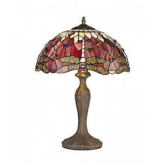 Lámpara De Mesa Tiffany Clio 2 Bombillas Morado / Rosa 40,5 Cm