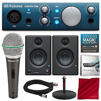 Presonus audiobox ione 2x2 usb /ipad inspelningssystem med presonus eris e3.5 multimedia referensmonitorer, samson mikrofon och deluxe bunt