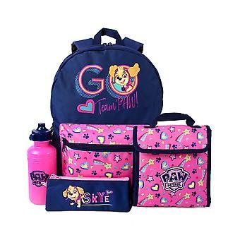 Paw Patrol Backpack 4 Pièce Ensemble | Sac d'école de chiots de sauvetage, boîte à lunch, bouteille d'eau et étui de crayon | Skye Pink Bag Marchandises Taille unique